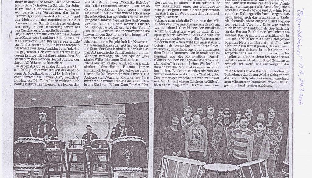 Taiko-Konzert,Zeitungsreport